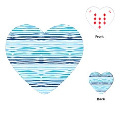 Watercolor Blue Abstract Summer Pattern Playing Cards (heart)