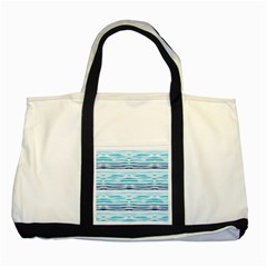 Watercolor Blue Abstract Summer Pattern Two Tone Tote Bag