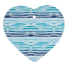 Watercolor Blue Abstract Summer Pattern Heart Ornament (two Sides)