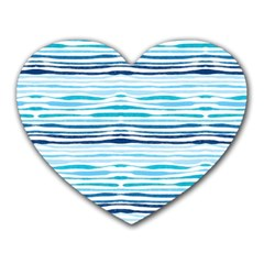 Watercolor Blue Abstract Summer Pattern Heart Mousepads