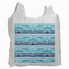 Watercolor Blue Abstract Summer Pattern Recycle Bag (one Side)