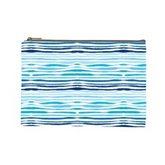 Watercolor Blue Abstract Summer Pattern Cosmetic Bag (large)