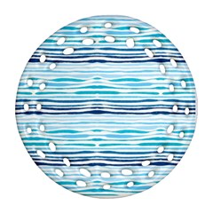 Watercolor Blue Abstract Summer Pattern Round Filigree Ornament (two Sides)