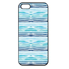 Watercolor Blue Abstract Summer Pattern Apple Iphone 5 Seamless Case (black)