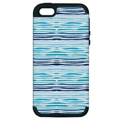 Watercolor Blue Abstract Summer Pattern Apple Iphone 5 Hardshell Case (pc+silicone)