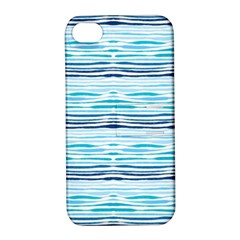 Watercolor Blue Abstract Summer Pattern Apple Iphone 4/4s Hardshell Case With Stand