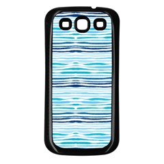 Watercolor Blue Abstract Summer Pattern Samsung Galaxy S3 Back Case (black)