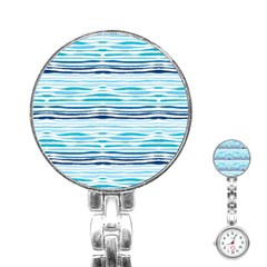 Watercolor Blue Abstract Summer Pattern Stainless Steel Nurses Watch