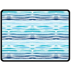 Watercolor Blue Abstract Summer Pattern Double Sided Fleece Blanket (large)