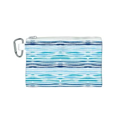 Watercolor Blue Abstract Summer Pattern Canvas Cosmetic Bag (s)