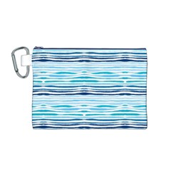 Watercolor Blue Abstract Summer Pattern Canvas Cosmetic Bag (m)