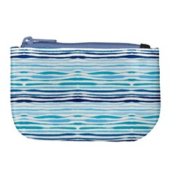 Watercolor Blue Abstract Summer Pattern Large Coin Purse