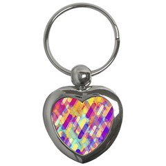 Colorful Abstract Background Key Chains (heart)