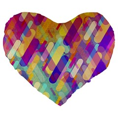 Colorful Abstract Background Large 19  Premium Flano Heart Shape Cushions