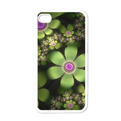 Abstraction Fractal Flowers Greens  Apple Iphone 4 Case (white)
