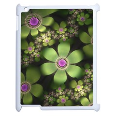 Abstraction Fractal Flowers Greens  Apple Ipad 2 Case (white)