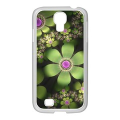 Abstraction Fractal Flowers Greens  Samsung Galaxy S4 I9500/ I9505 Case (white)