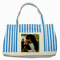 Greater Swiss Mountain Dog Striped Blue Tote Bag