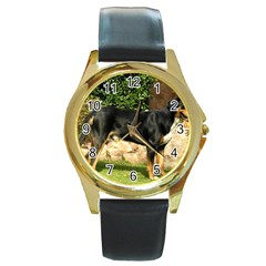 Gsmd Full Round Gold Metal Watch