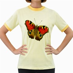 Butterfly Bright Vintage Drawing Women s Fitted Ringer T Shirts