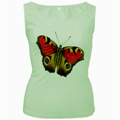 Butterfly Bright Vintage Drawing Women s Green Tank Top