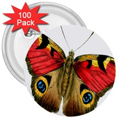 Butterfly Bright Vintage Drawing 3  Buttons (100 Pack)