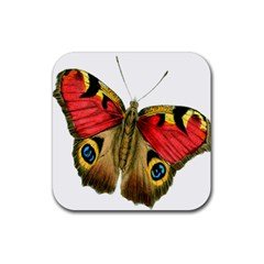 Butterfly Bright Vintage Drawing Rubber Coaster (square)