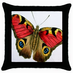 Butterfly Bright Vintage Drawing Throw Pillow Case (black)