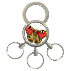 Butterfly Bright Vintage Drawing 3 Ring Key Chains