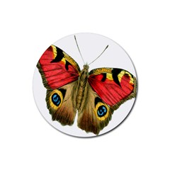 Butterfly Bright Vintage Drawing Rubber Coaster (round)