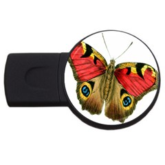 Butterfly Bright Vintage Drawing Usb Flash Drive Round (2 Gb)