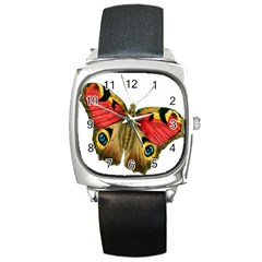 Butterfly Bright Vintage Drawing Square Metal Watch