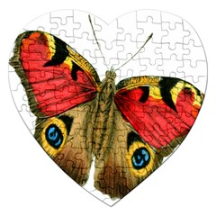 Butterfly Bright Vintage Drawing Jigsaw Puzzle (heart)