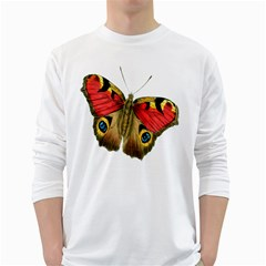 Butterfly Bright Vintage Drawing White Long Sleeve T Shirts