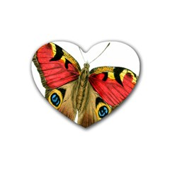 Butterfly Bright Vintage Drawing Rubber Coaster (heart)