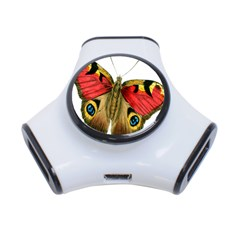 Butterfly Bright Vintage Drawing 3 Port Usb Hub