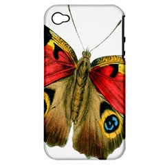Butterfly Bright Vintage Drawing Apple Iphone 4/4s Hardshell Case (pc+silicone)