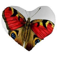 Butterfly Bright Vintage Drawing Large 19  Premium Heart Shape Cushions