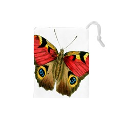Butterfly Bright Vintage Drawing Drawstring Pouches (small)