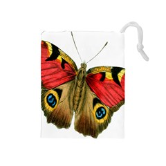 Butterfly Bright Vintage Drawing Drawstring Pouches (medium)