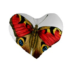 Butterfly Bright Vintage Drawing Standard 16  Premium Flano Heart Shape Cushions