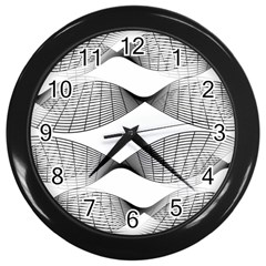 Curves Pattern Black On White Wall Clocks (black)