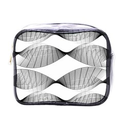 Curves Pattern Black On White Mini Toiletries Bags