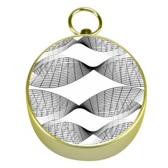 Curves Pattern Black On White Gold Compasses