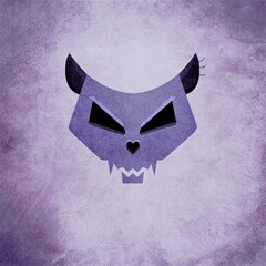 Purple Evil Cat Skull Canvas 16  X 16