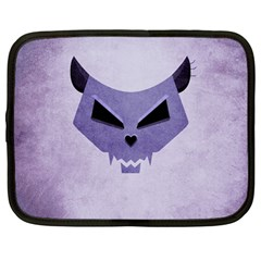 Purple Evil Cat Skull Netbook Case (large)