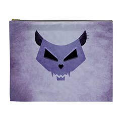Purple Evil Cat Skull Cosmetic Bag (xl)
