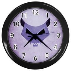 Purple Evil Cat Skull Wall Clocks (black)