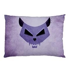 Purple Evil Cat Skull Pillow Case