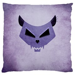 Purple Evil Cat Skull Large Cushion Case (one Side)